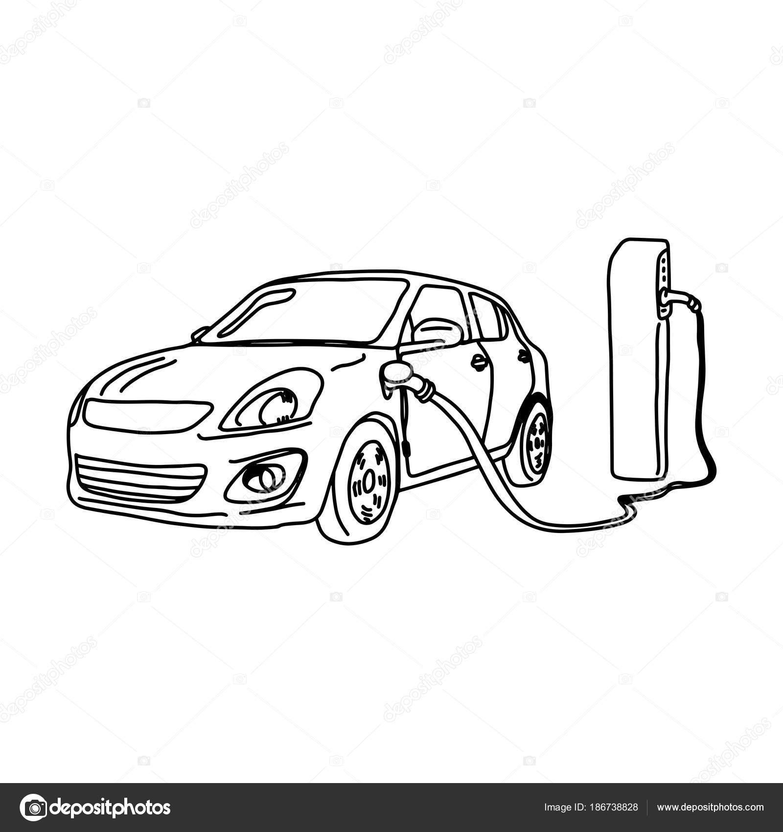 Carro Eletrico E Ilustracao Vetorial De Estacao De