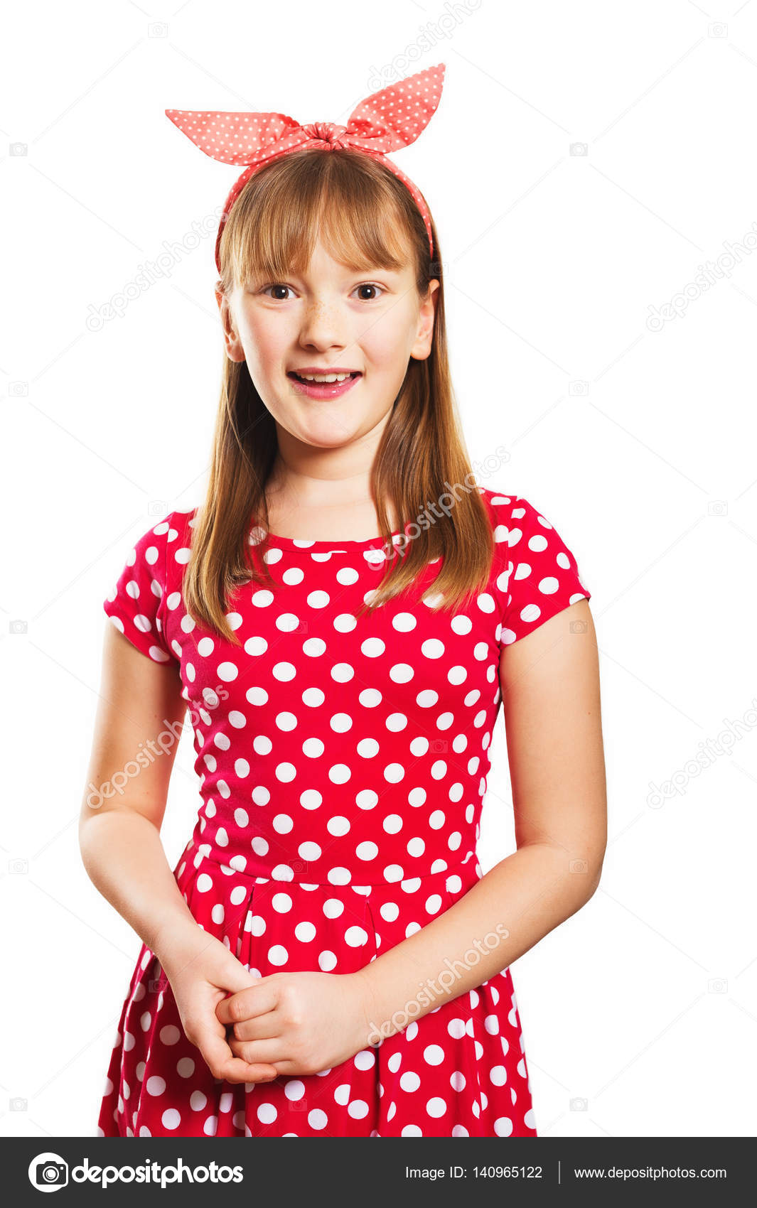 Studio Shot Of Young Little 9 10 Year Old Girl Wearing