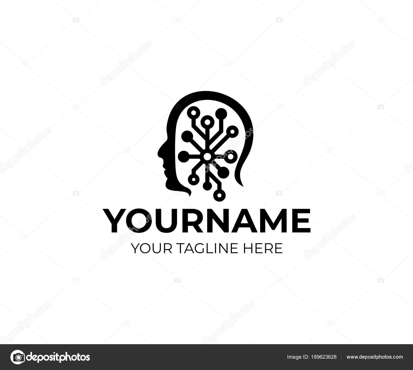 Man Head Artificial Intelligence Logo Template Human Face