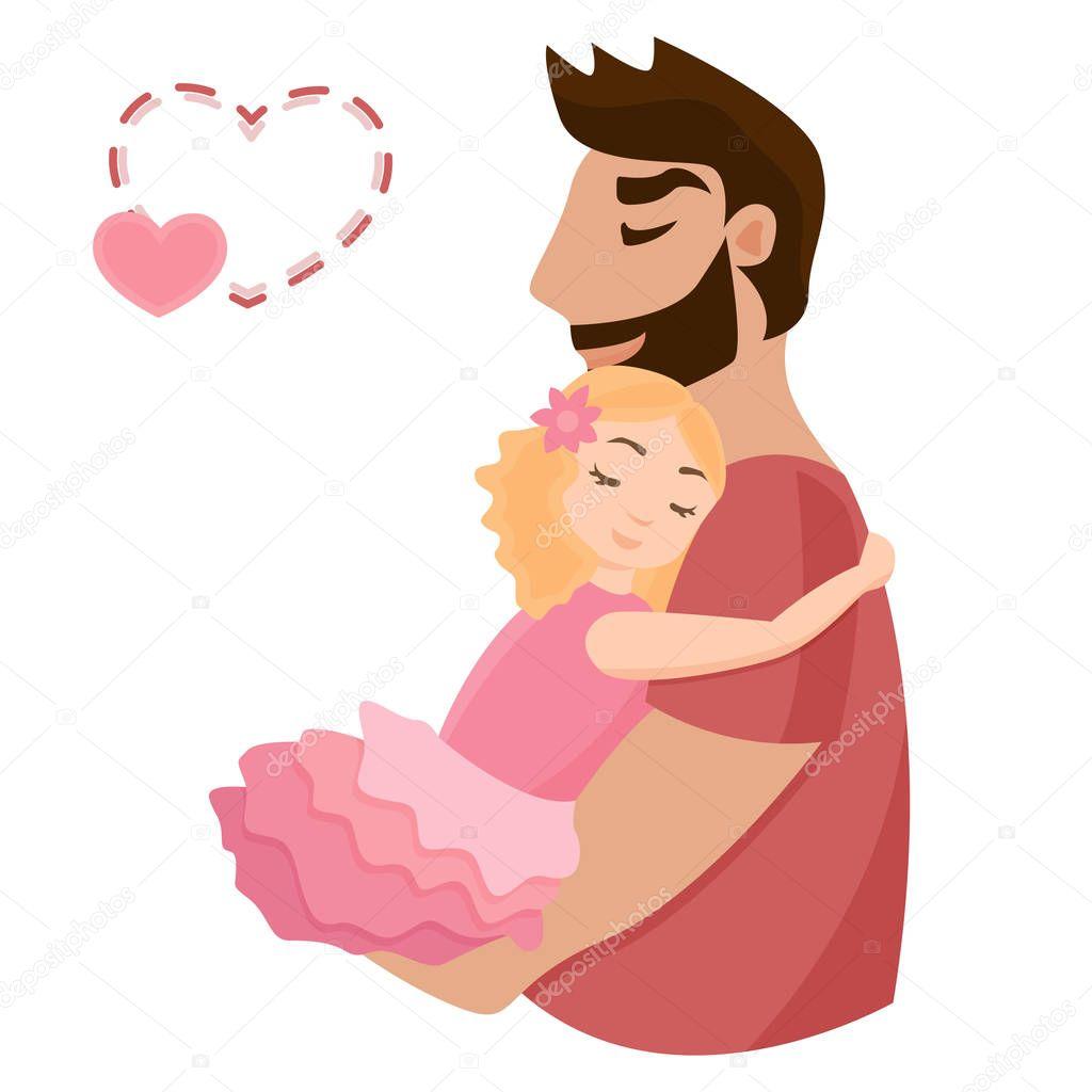 Download niña abrazando a su padre — Vector de stock © Elecstasyy ...