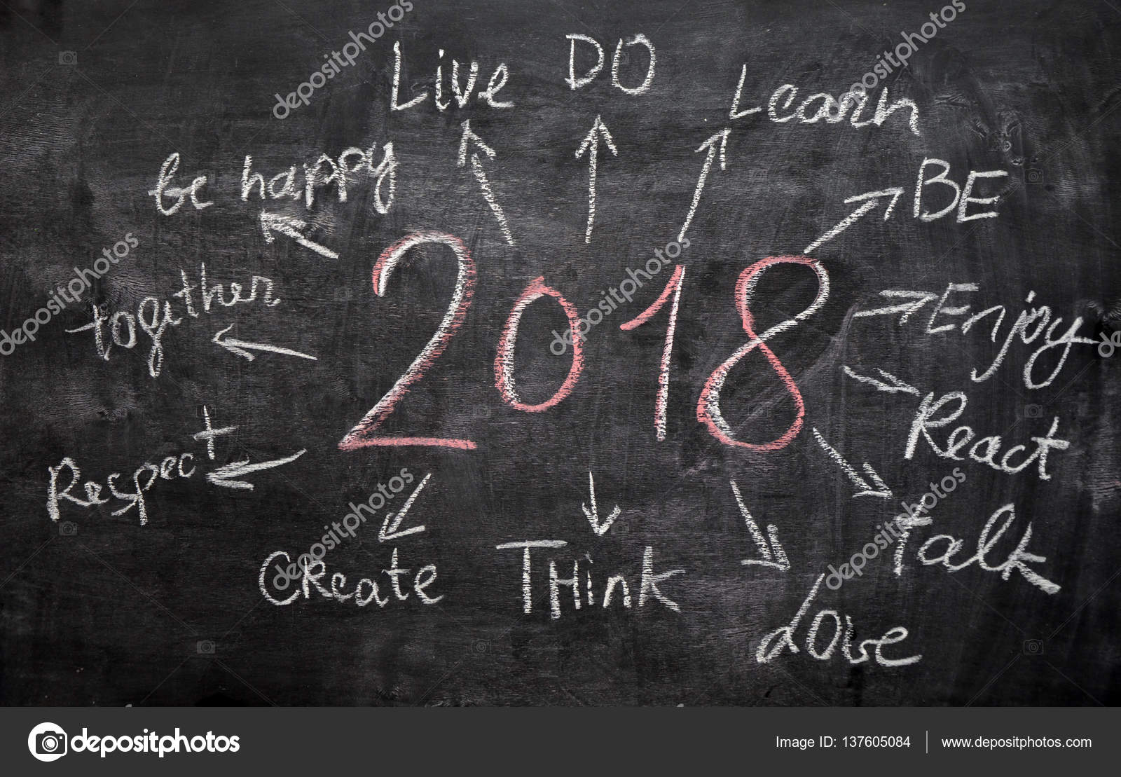 New Year Resolution Goals Written On Cardboard With Hand Drawn Sketches