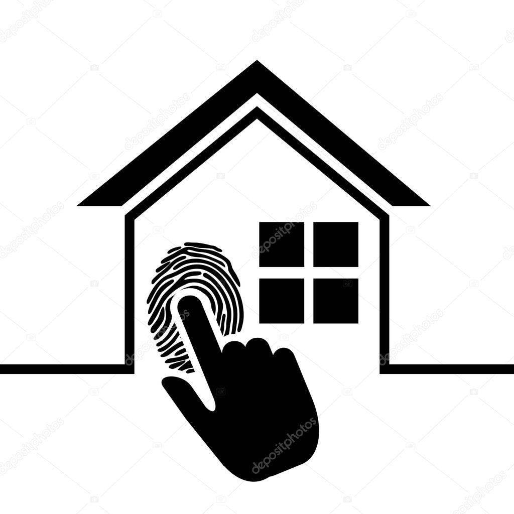Impronta Digitale Di Sicurezza Domestica Del Pittogramma