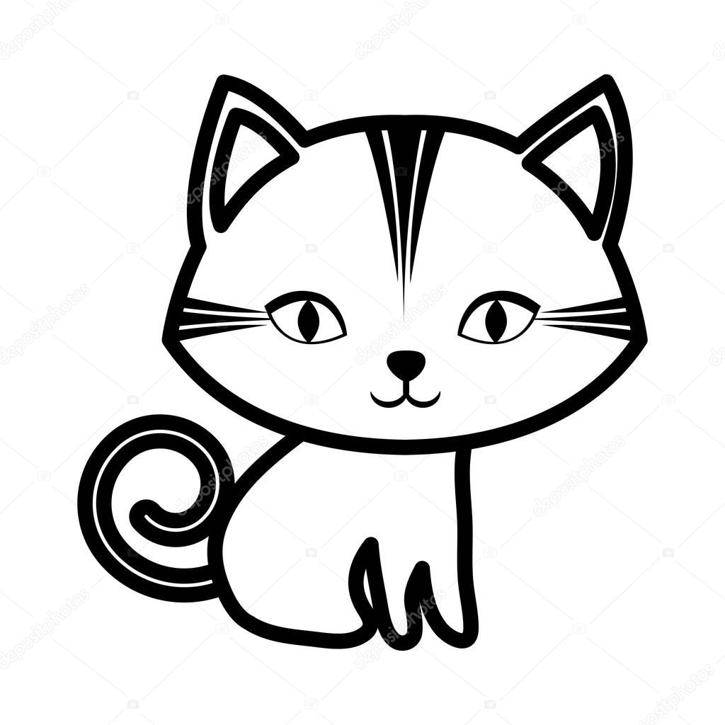 Cute Cat Stripes Sitting Outline