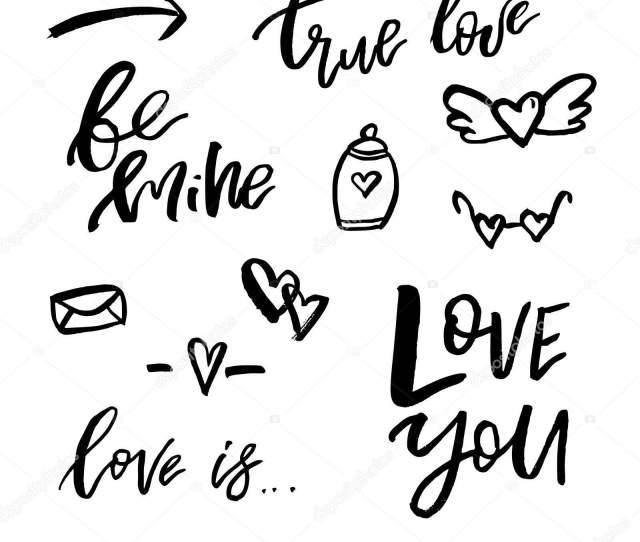 Happy Valentines Day Icons With Calligraphy On White Template F Stock Vector