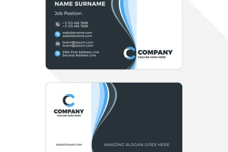 Vertical Double sided Business Card Template  Blue and Black Colors     Double sided Business Card Template with Abstract Blue and Black Waves  Background  Vector Illustration