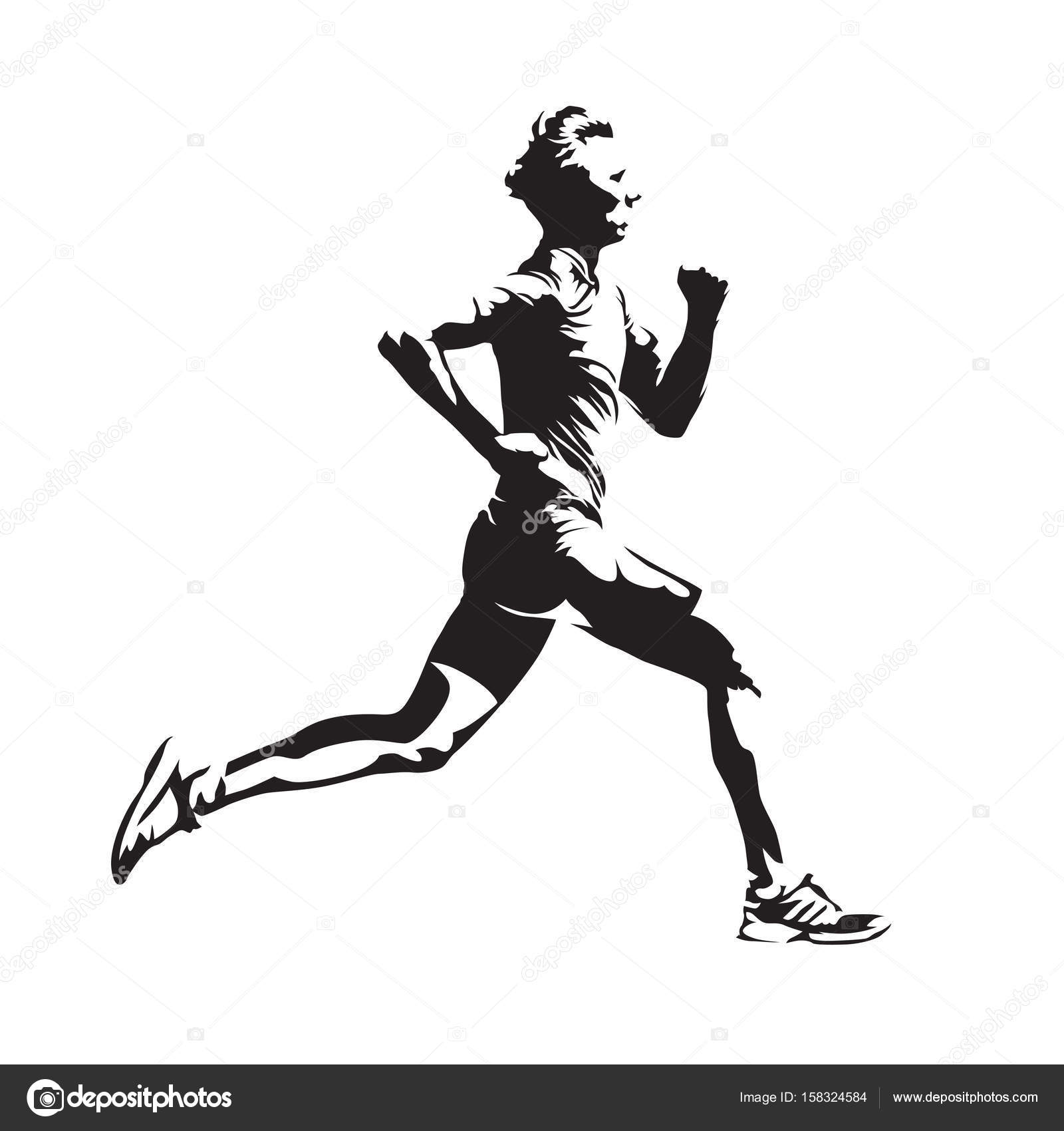 Running Man Vector Sketch Abstract Silhouette Side View