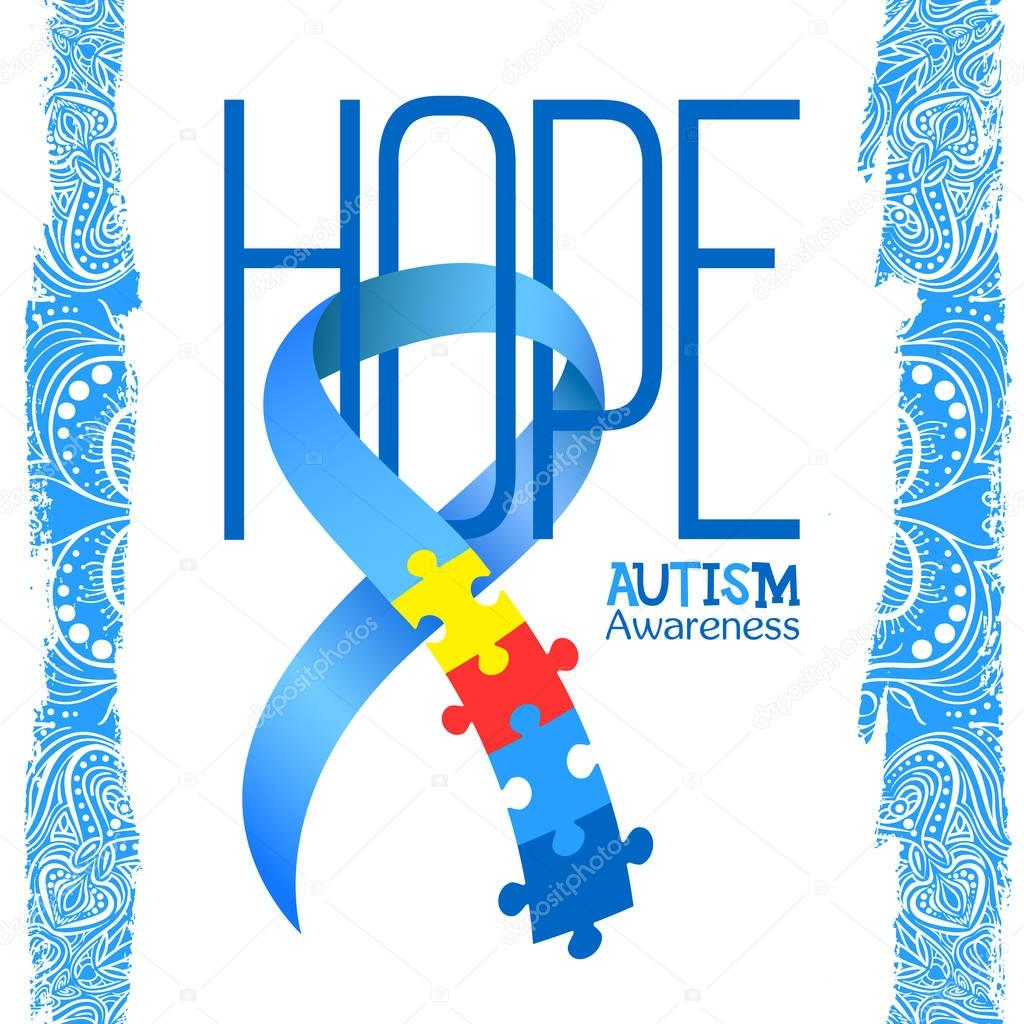 World Autism Awareness Day Blue Ribbon With Colorful