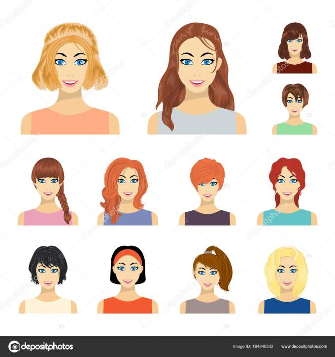 types of female hairstyles cartoon icons in set collection