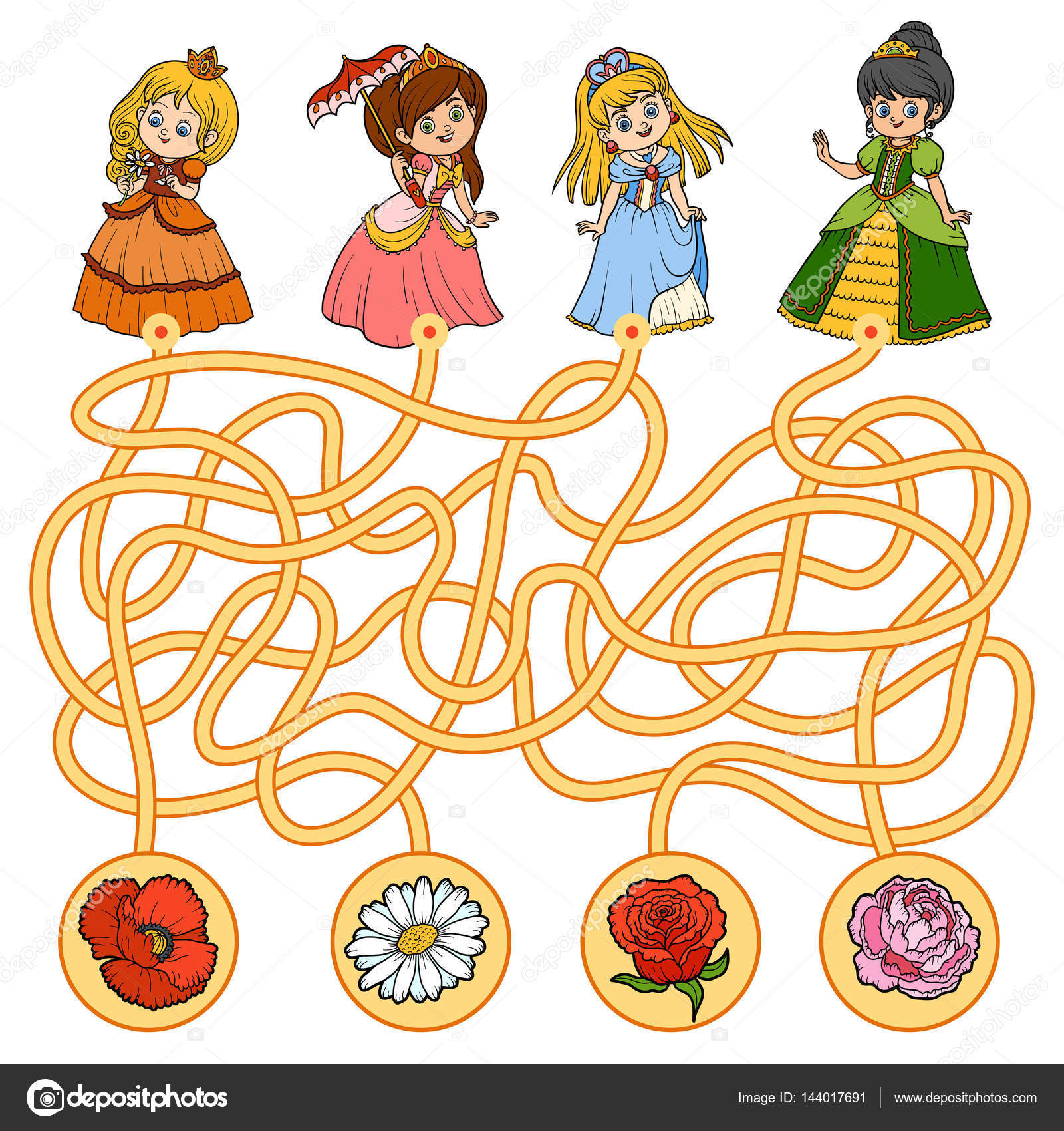 Maze Game For Children Little Princess And Flowers