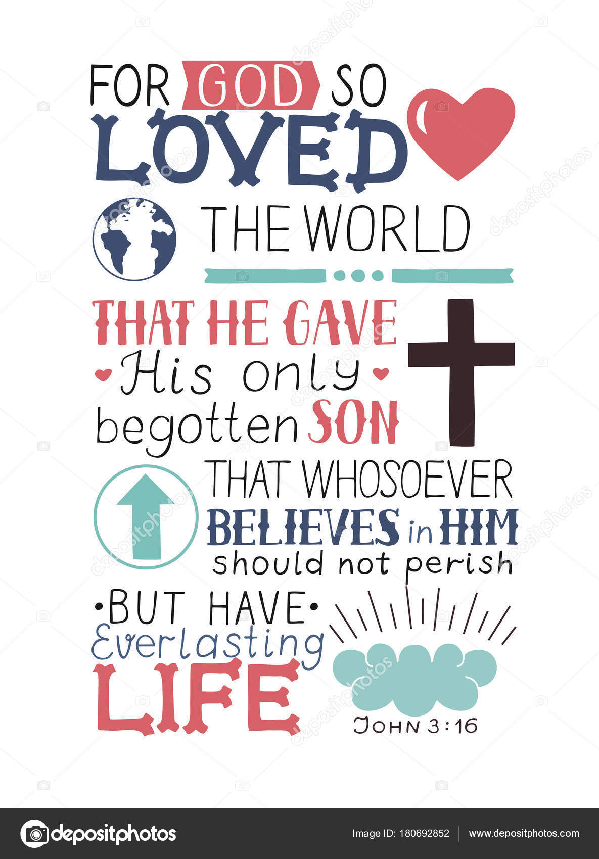 Golden Bible Verse John 3 16 For God So Loved The World Made Hand Lettering With Heart And