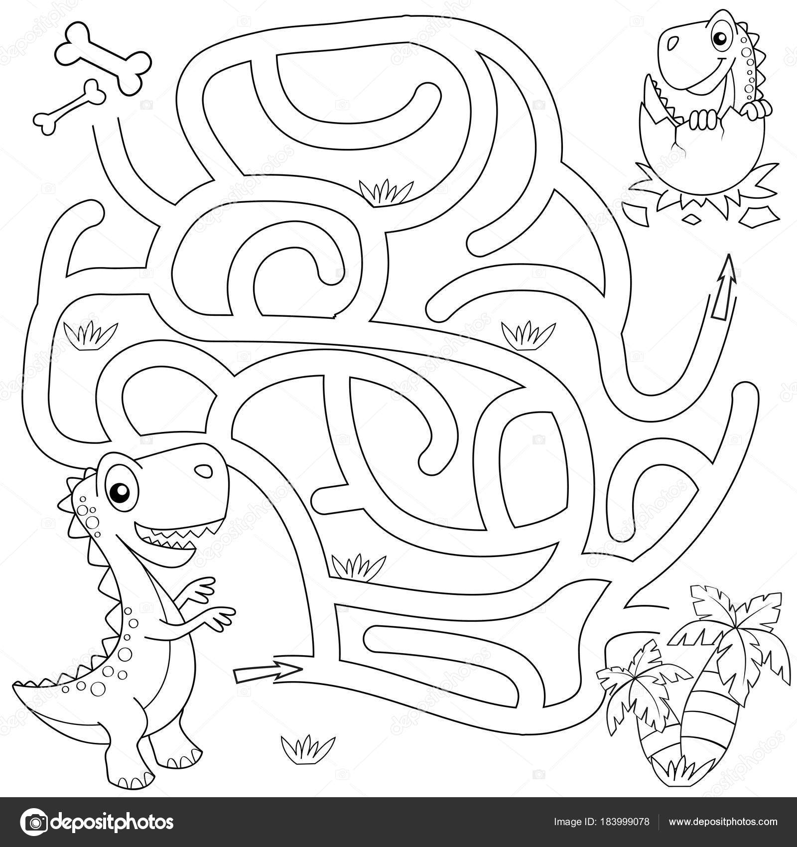 Help Dinosaur Find Path Nest Labyrinth Maze Game Kids