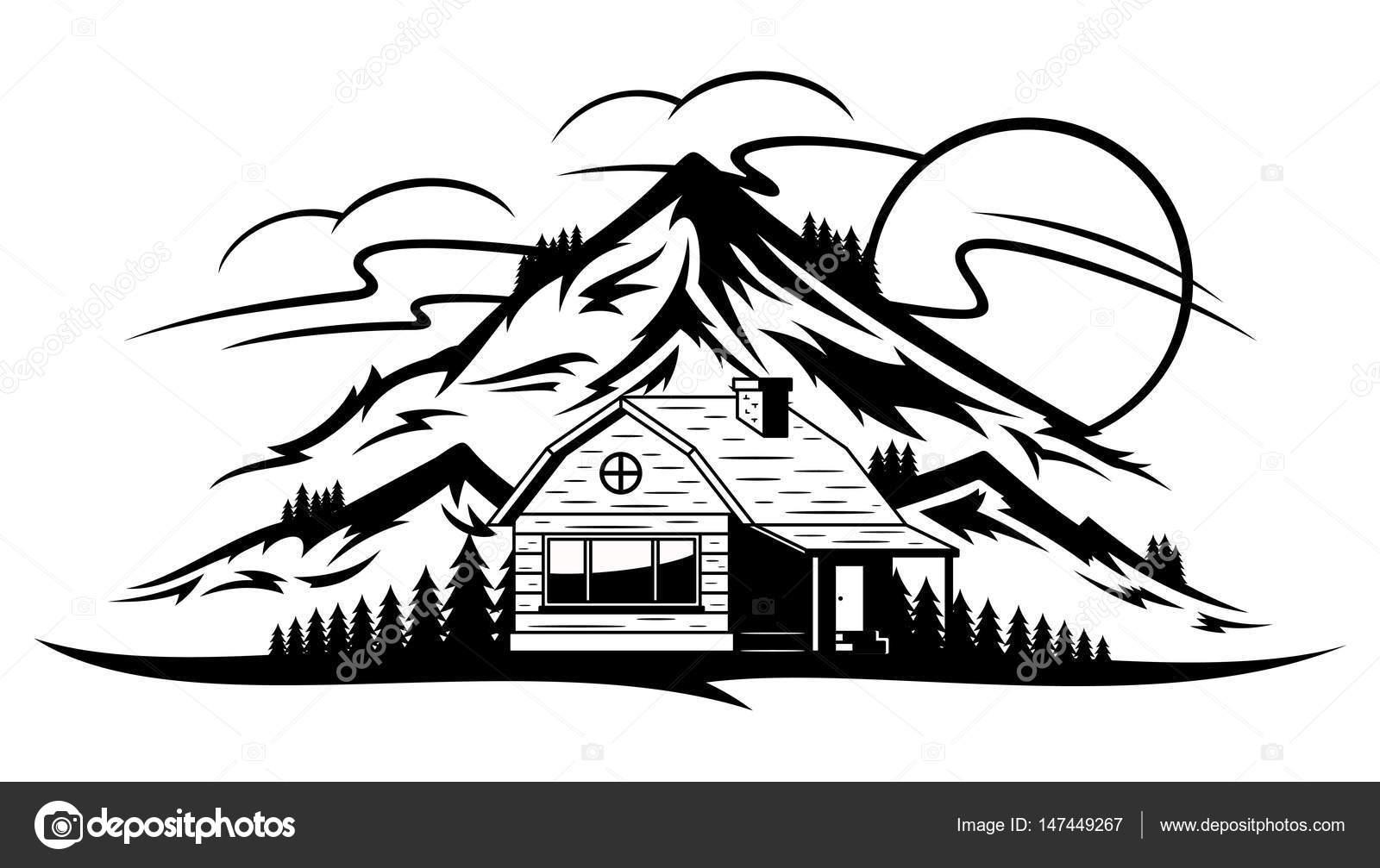 Dibujos Cabanas En La Montana