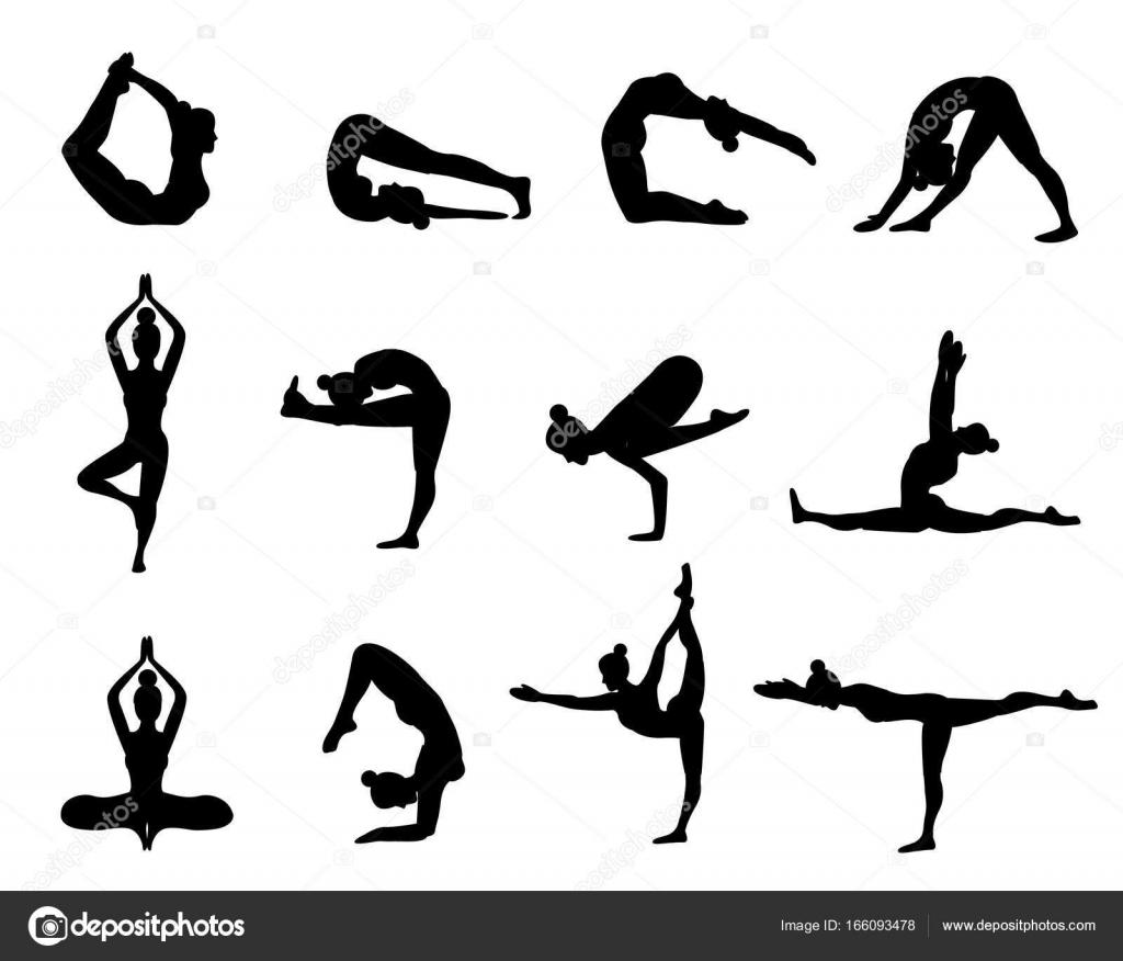Yoga Houdingen Silhouet