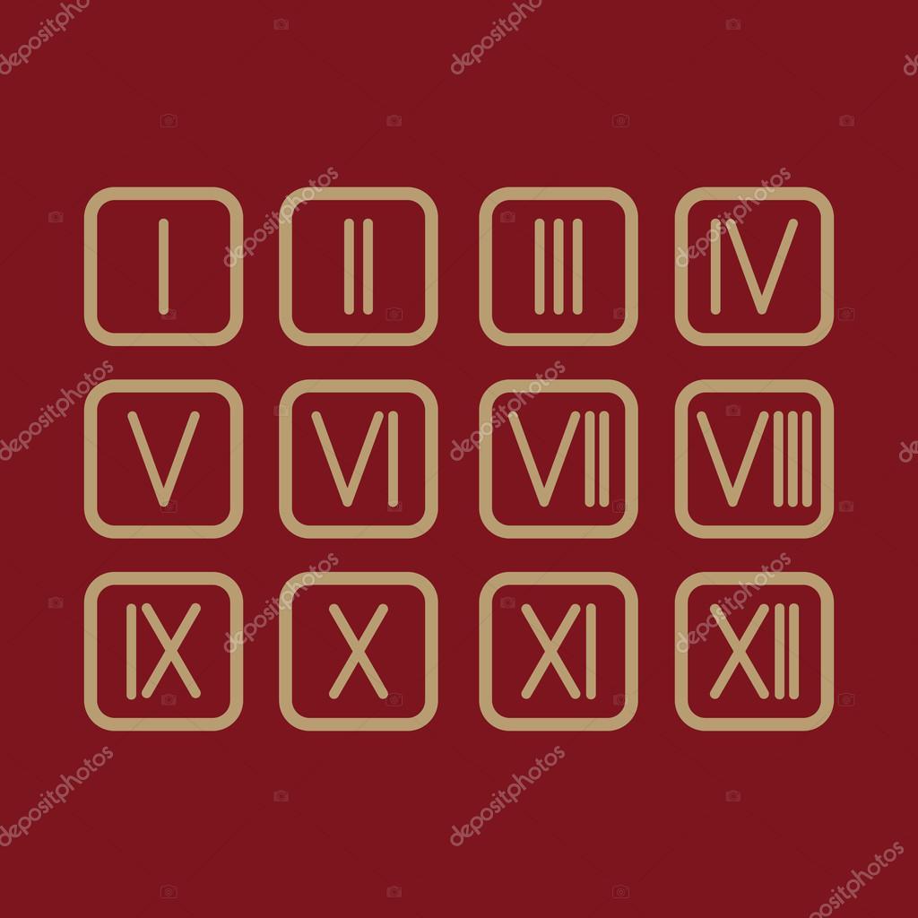 Set Roman Numerals 1 12 Icon