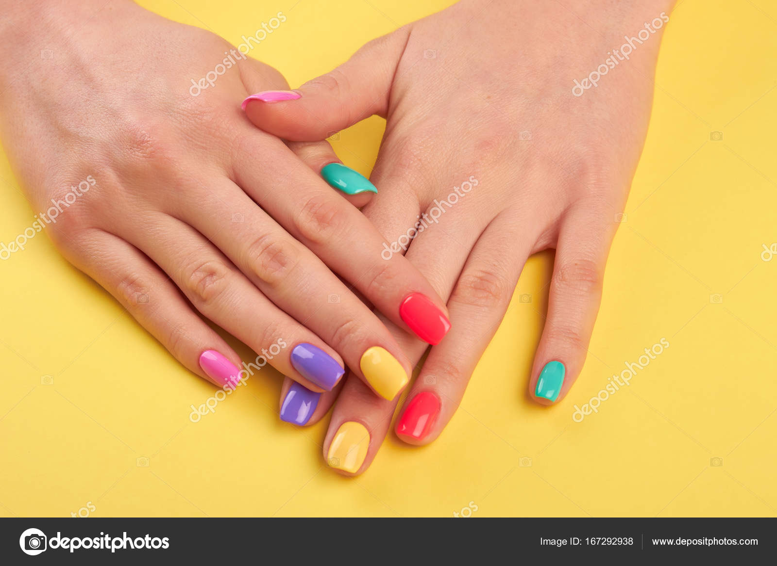 Woman Nails Painted In Different Colors Stock Photo C Denisfilm