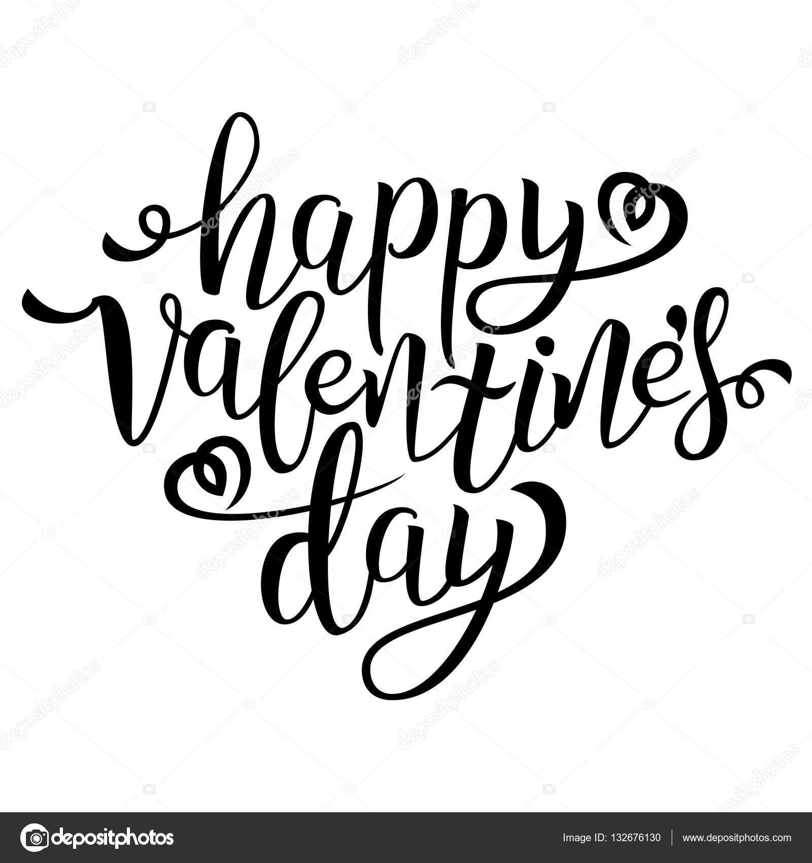 Happy Valentine S Day Calligraphic Quote Typographic