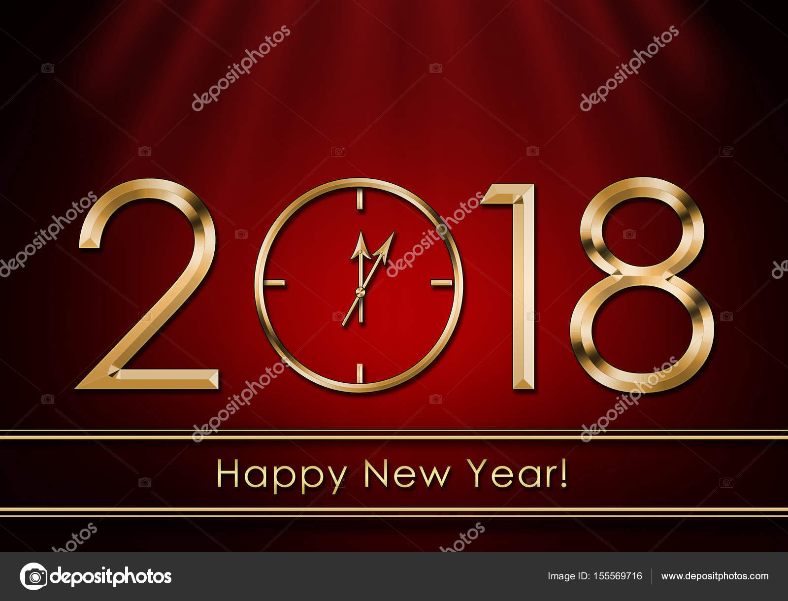 Happy New Year 2018  New Year Clock     Stock Photo      SyhinStas  155569716 Happy New Year 2018  New Year Clock     Stock Photo