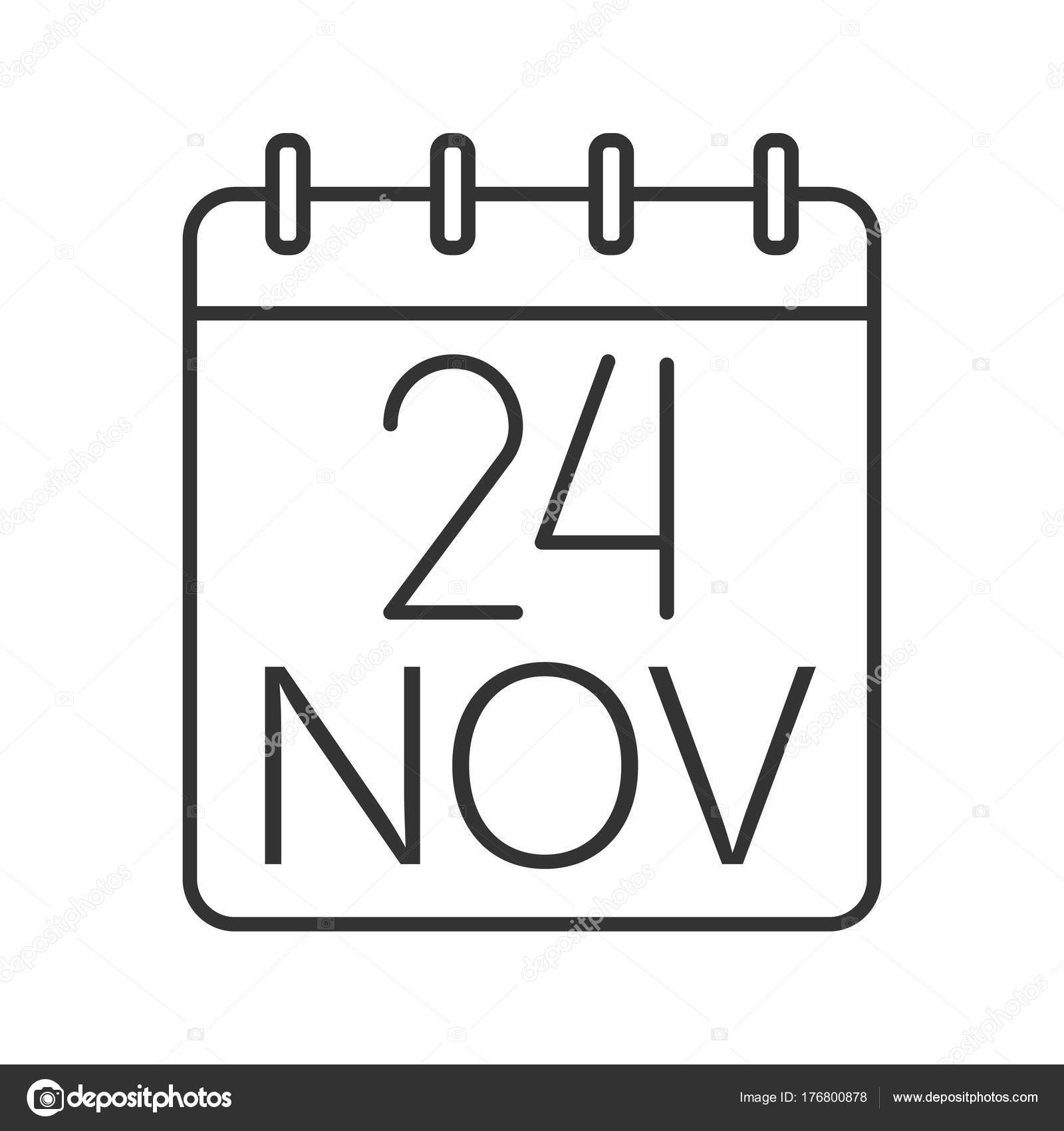 Evolution Day Date Linear Icon Twenty Fourth November Thin