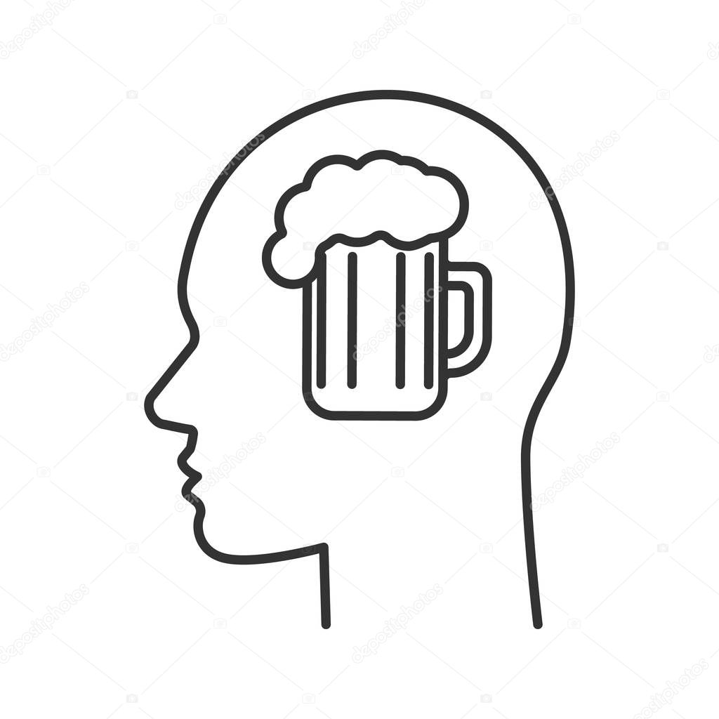 Human Head Beer Mug Linear Icon Alcoholism Thin Line