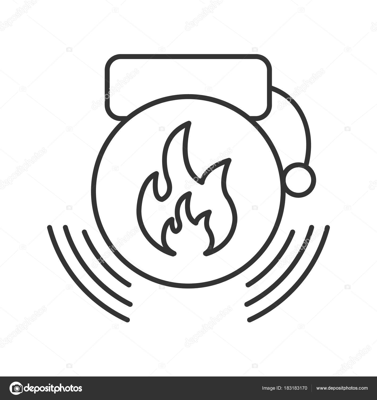 Fire Alarm Linear Icon Alert Thin Line Illustration