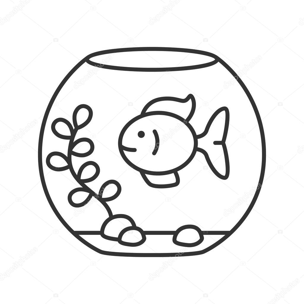 Aquarium Linear Icon Thin Line Illustration Fishkeeping