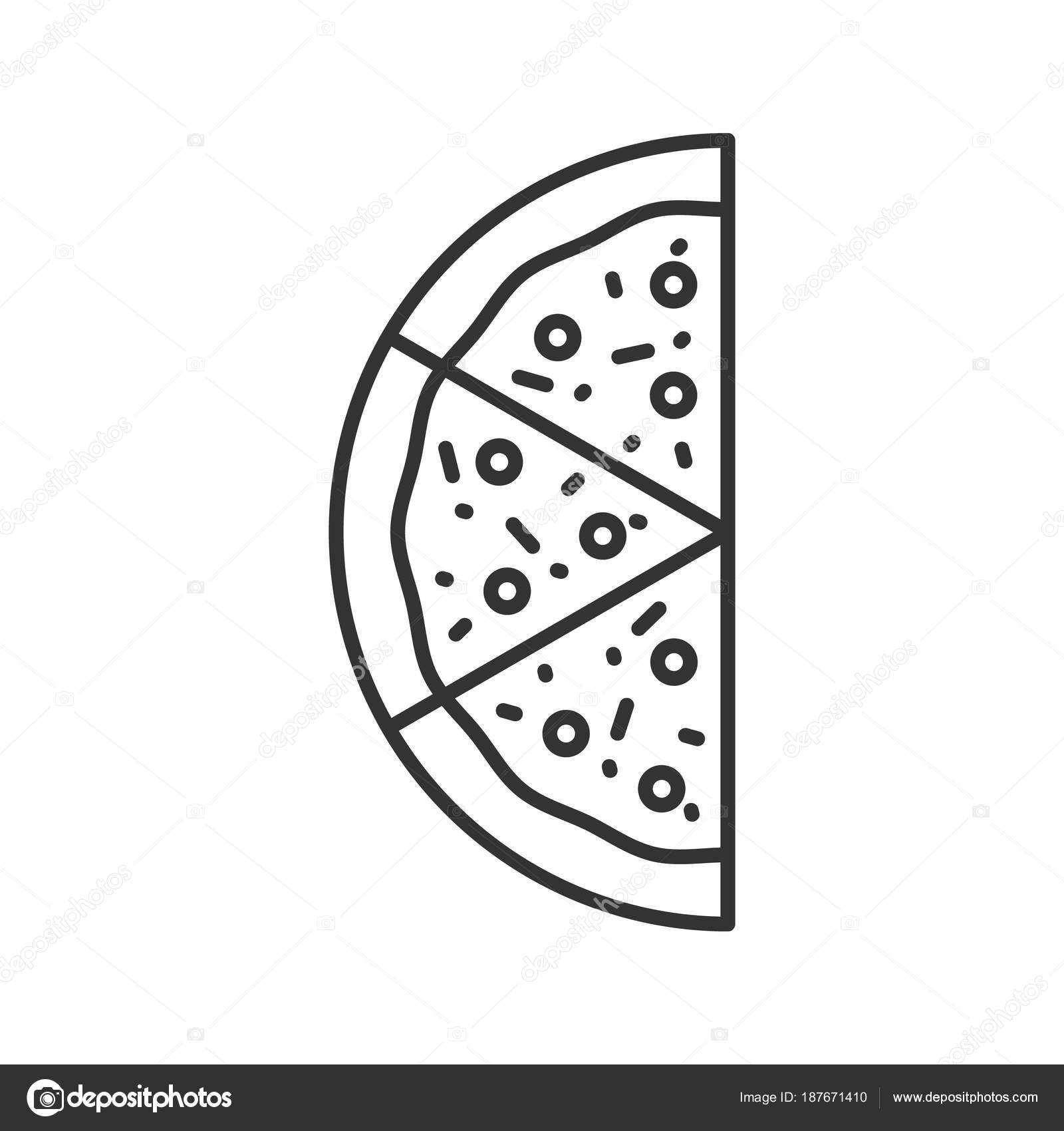 Meta Dell Icona Lineare Pizza Illustrazione Tratto Sottile