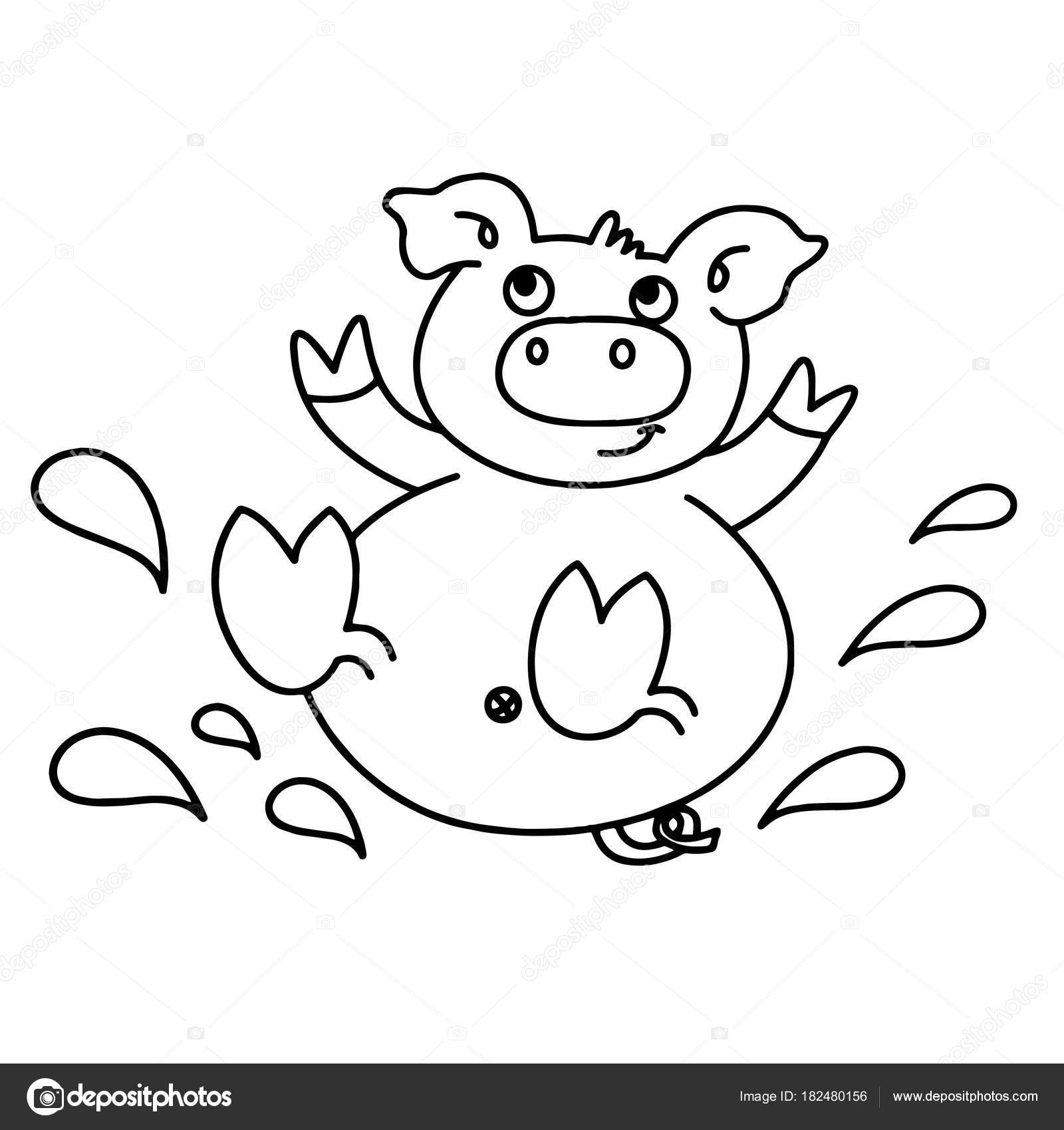 Cute Black And White Pig Clip Art T Drawings Clip Art