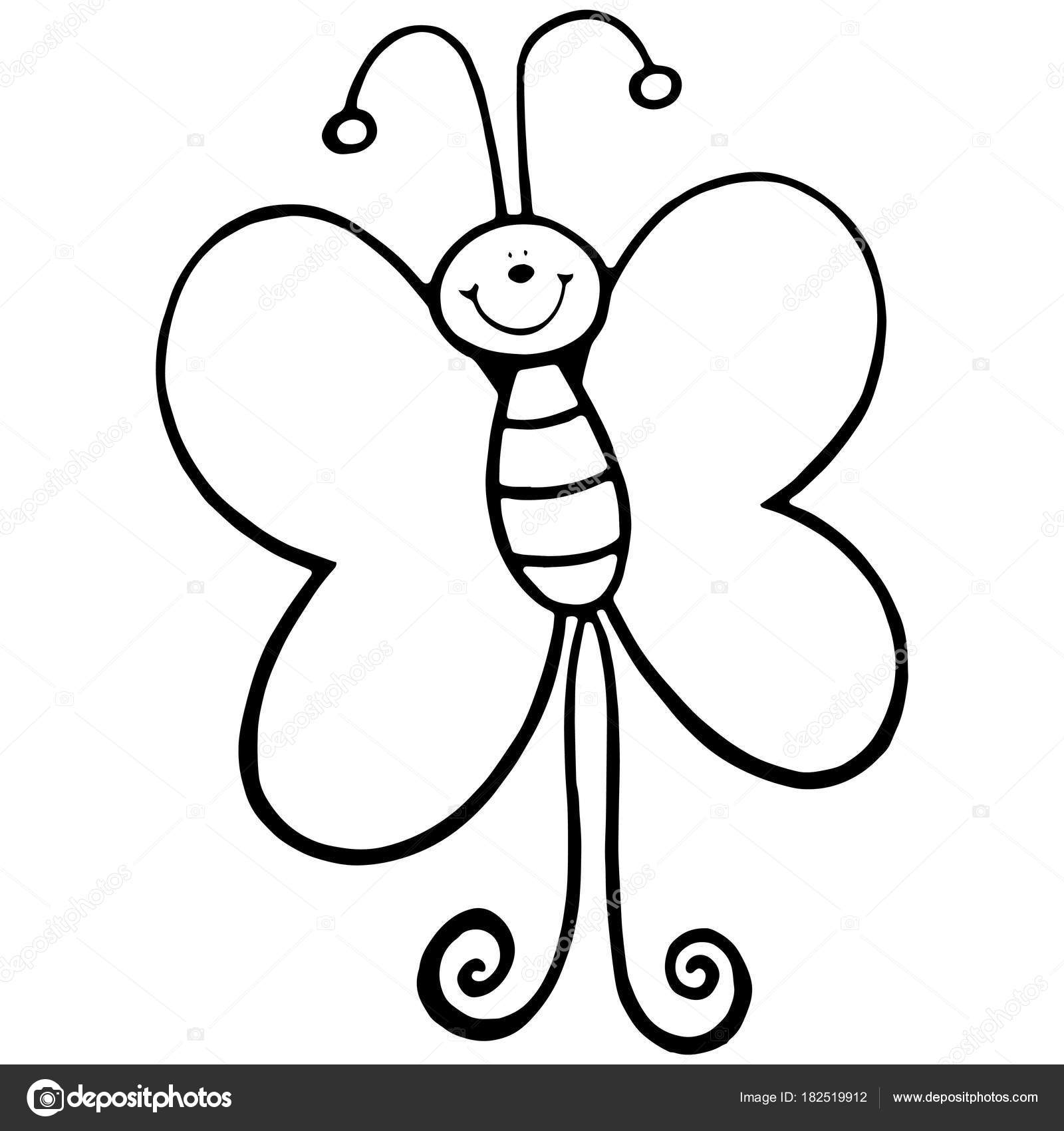 Cute Cartoon Butterfly White Background Childrens Prints