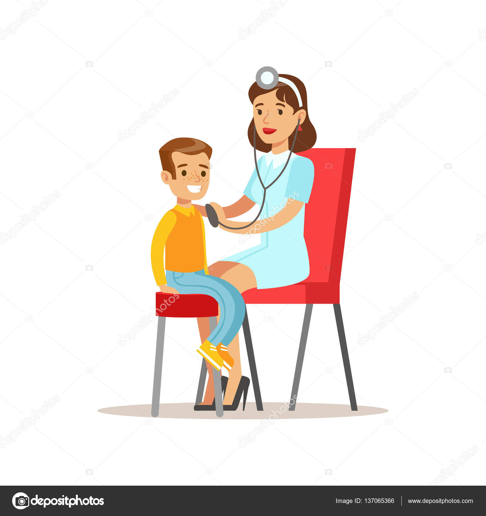 Kid On Medical Check Up With Female Pediatrician Doctor