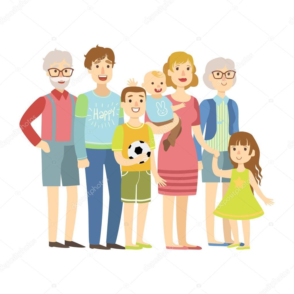 Famille Complete Avec Les Parents Les Grands Parents Et