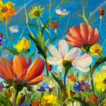 Summer Flower Field Blue Sky Background Art Wildflowers Floral Painting Stock Photo Image By C Weris7554 186537254