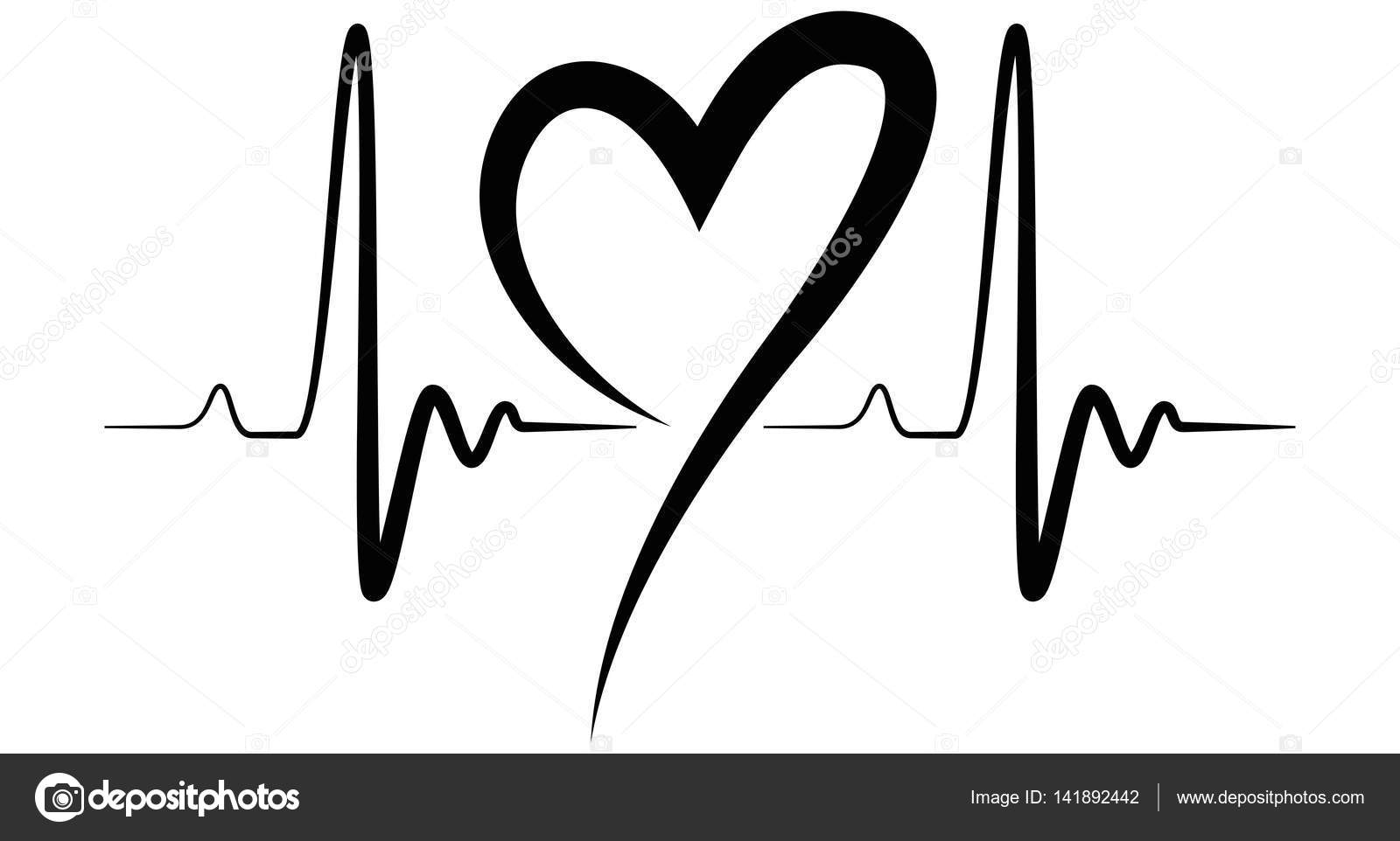 Heartbeat Shape Illustration Black