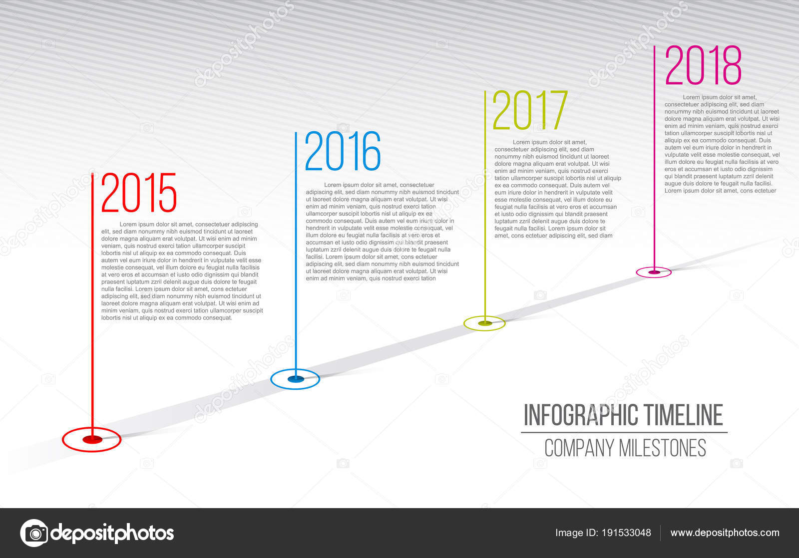 Creative vector illustration of company milestones timeline     Creative vector illustration of company milestones timeline  Template with  pointers  Curved road line art design with information placeholders