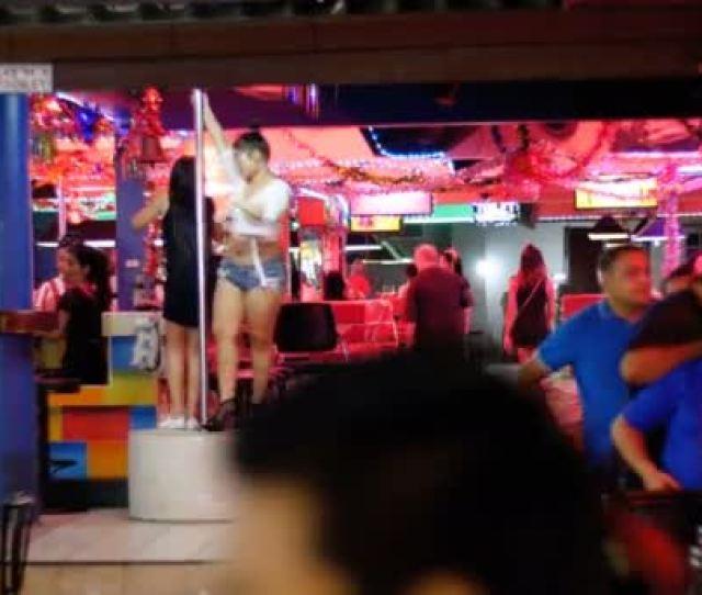 Pattaya Walking Street Striptease Bars And Go Go Dances Thailand Stock Footage
