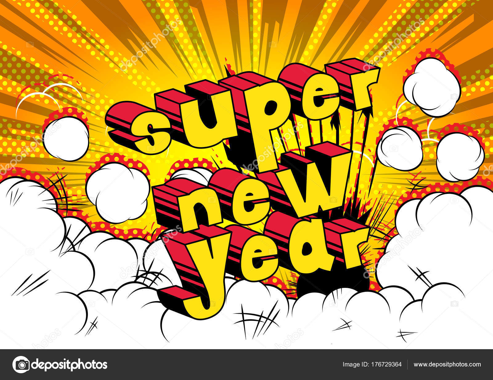 Super New Year Comic Book Style Word Abstract Background     Stock     Super New Year Comic Book Style Word Abstract Background     Stock Vector