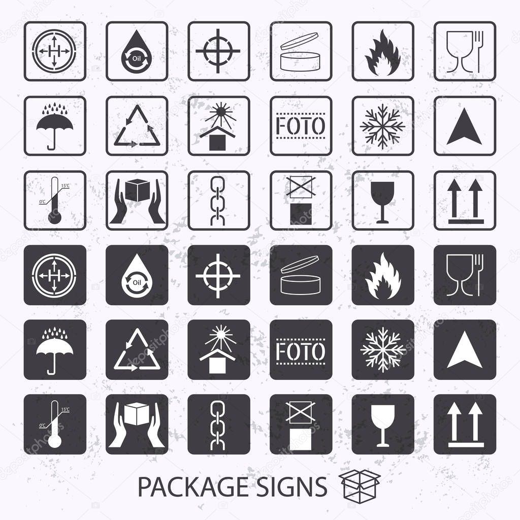 Vector Packaging Symbols On Vector Grunge Background