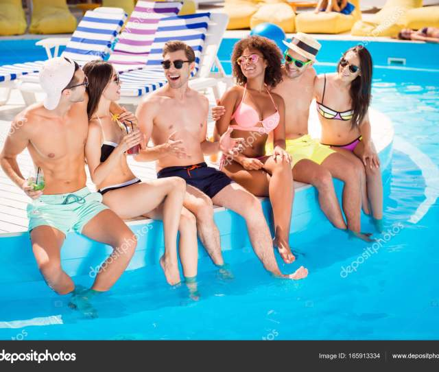 Six Friendly Multi Ethnic Hot Teens In Diverse Swim Wear And Spe Stock Photo