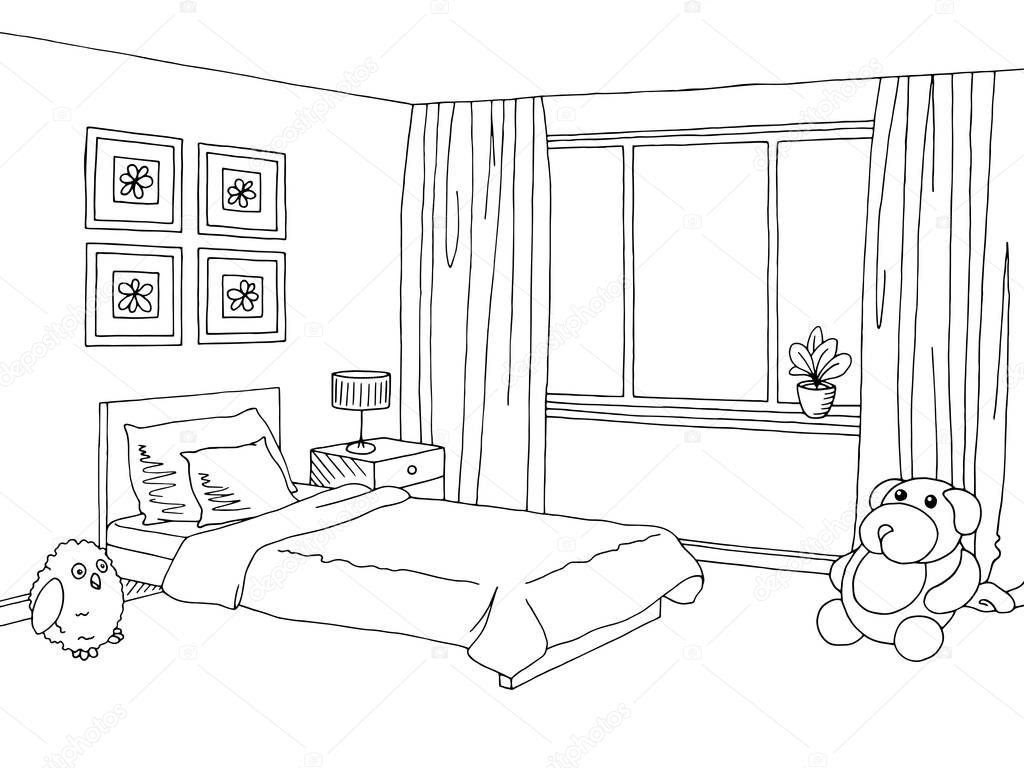 Vetor Grafico Preto Branco Desenho Interior De Quarto De