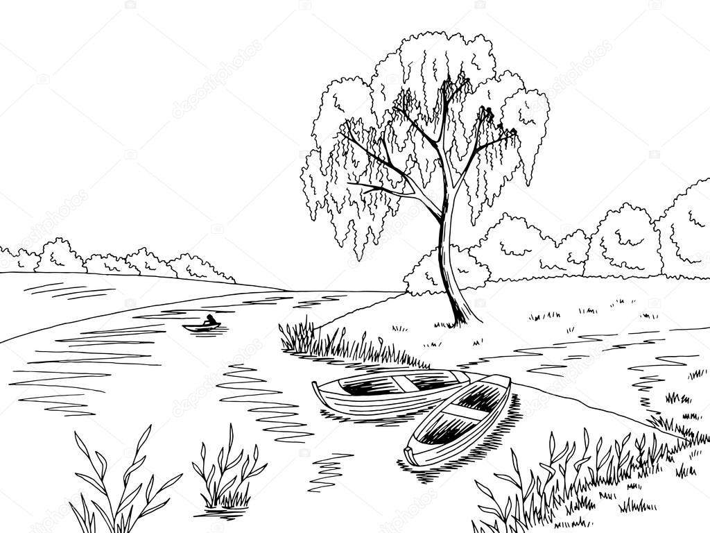 River Boat Graficzny Czarny Bia Y Krajobraz Szkic Wektor