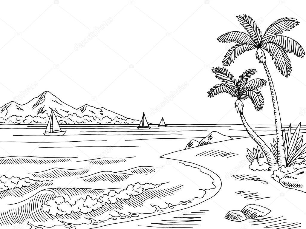 Mer Baie Graphique Noir Blanc Paysage Dessin Illustration
