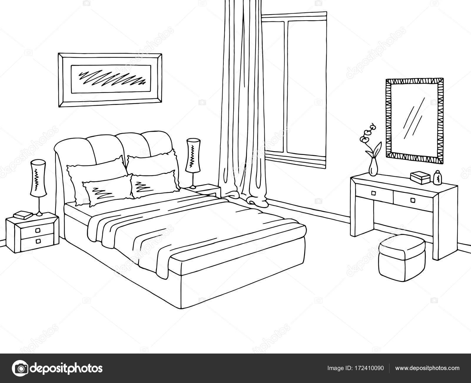 Interior Branco Preto Grafico De Quarto Desenho Ilustracao