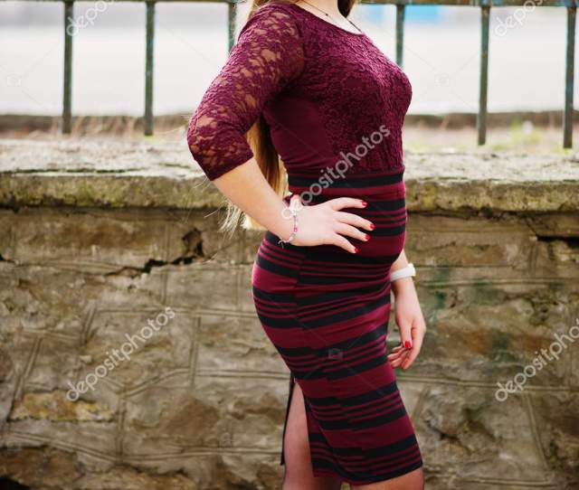 Young Chubby Teenage Girl Wear On Red Dress With Sunglasses Pose Stock Photo