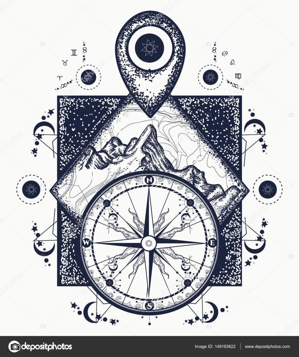 гора указатель карту и компас тату приключения путешествия
