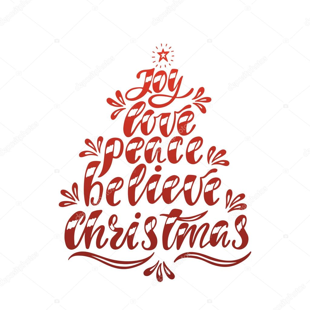 Download Joy Love Peace Believe Christmas. Hand drawn calligraphy ...