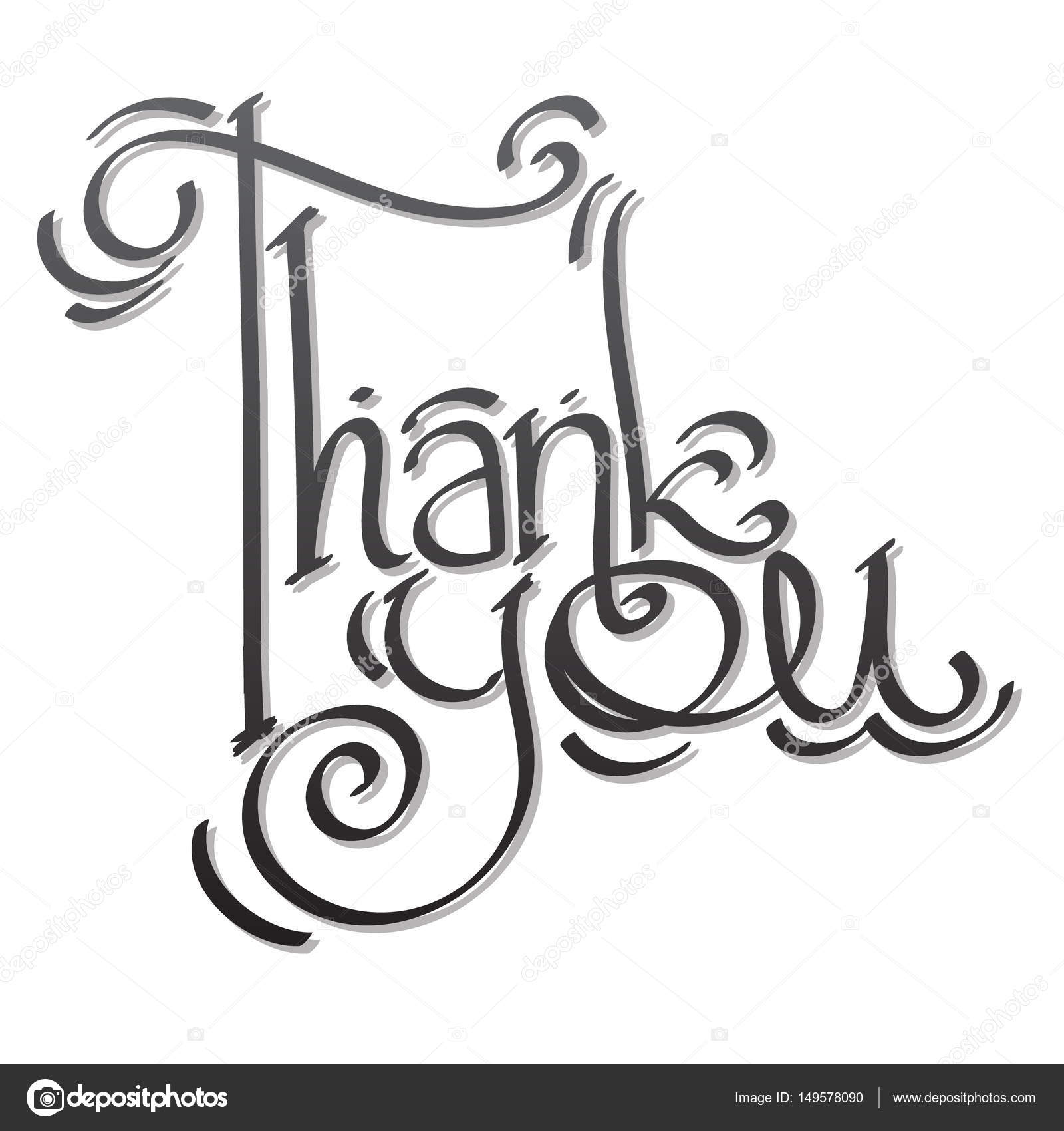 Thank You Lettering Hand Drawing
