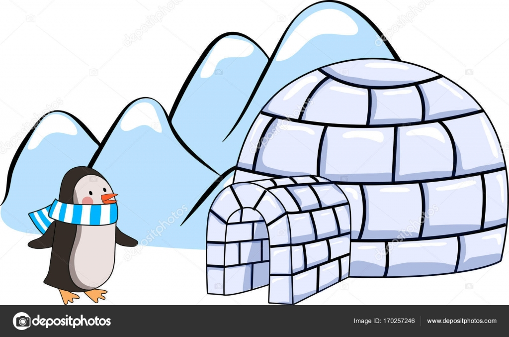 An Igloo And Penguin With Blue And White Scarf On Winter