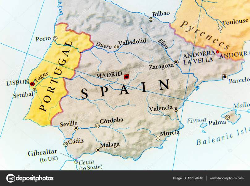 Geographic map of Spain with important cities     Stock Photo     Geographic map of Spain with important cities     Stock Photo