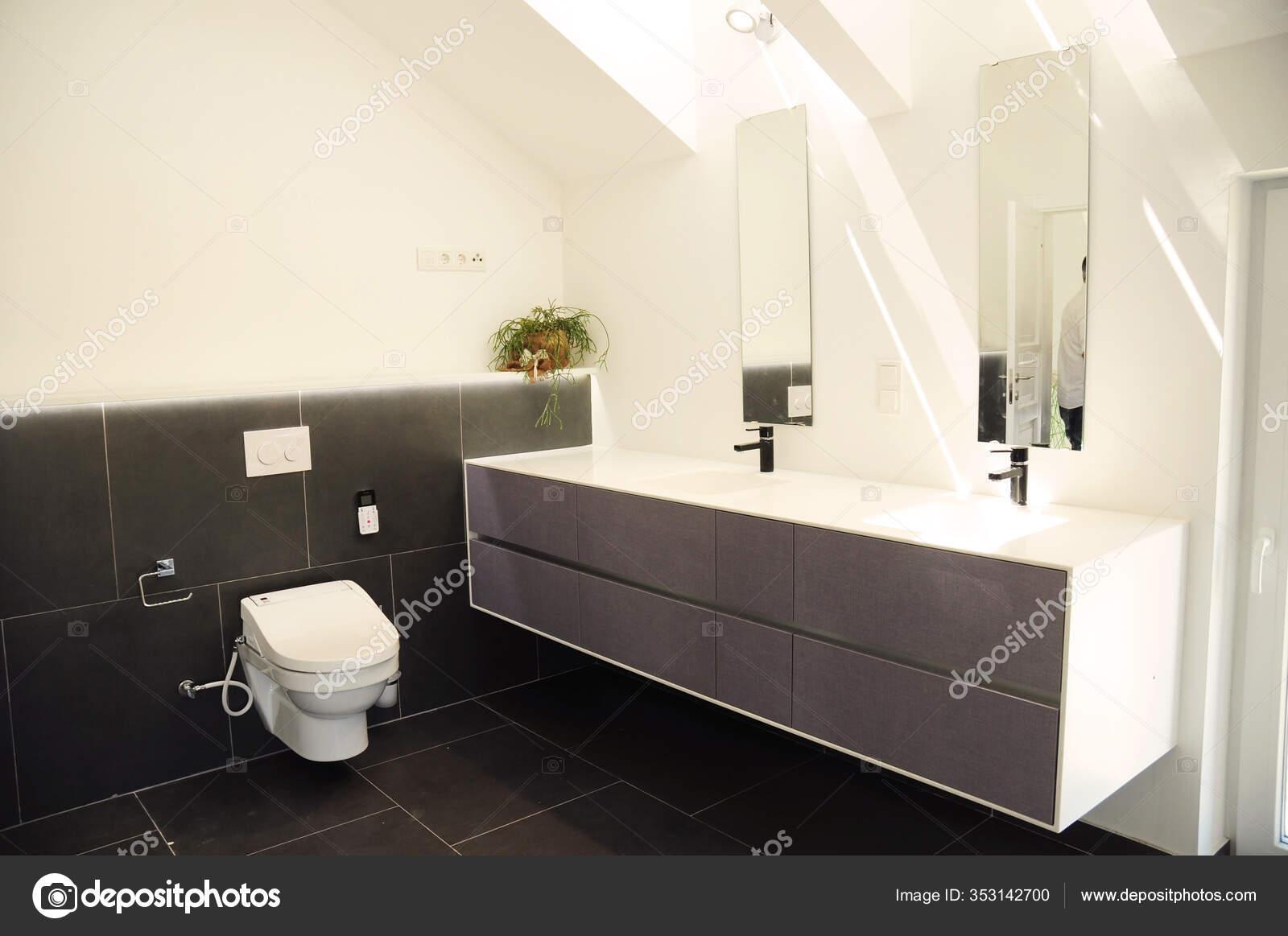 https depositphotos com 353142700 stock photo contemporary attic bathroom toilet bowl html