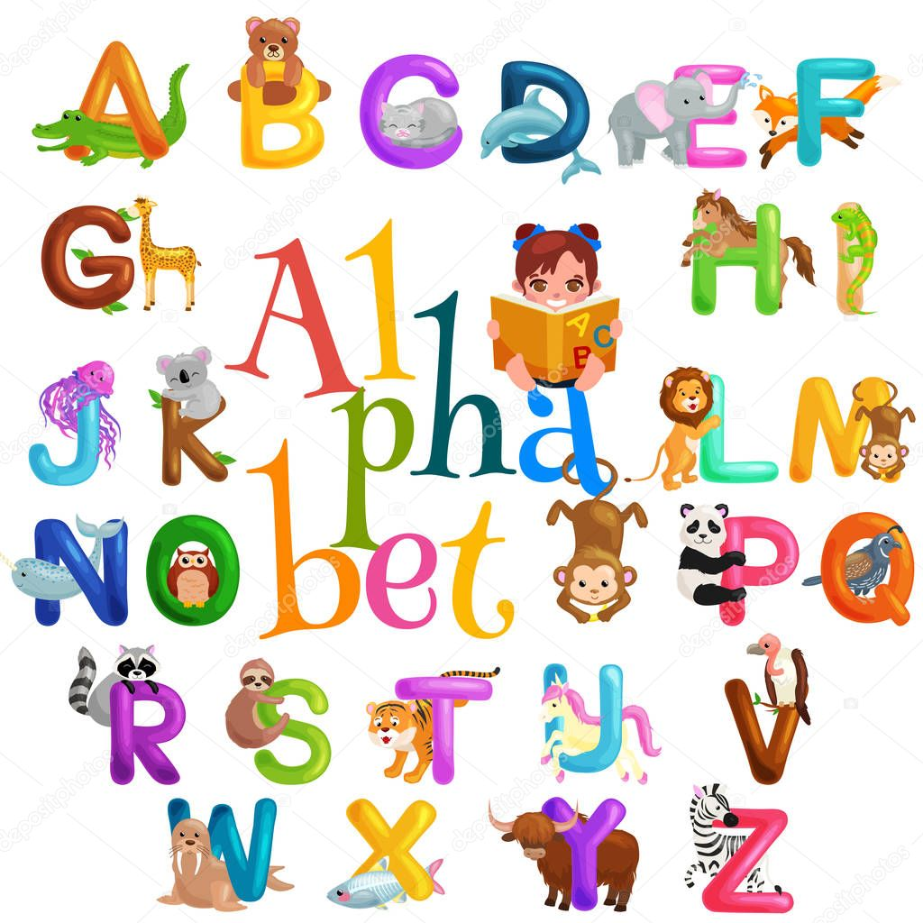 Animals Alphabet Set For Kids Abc Education In Preschool