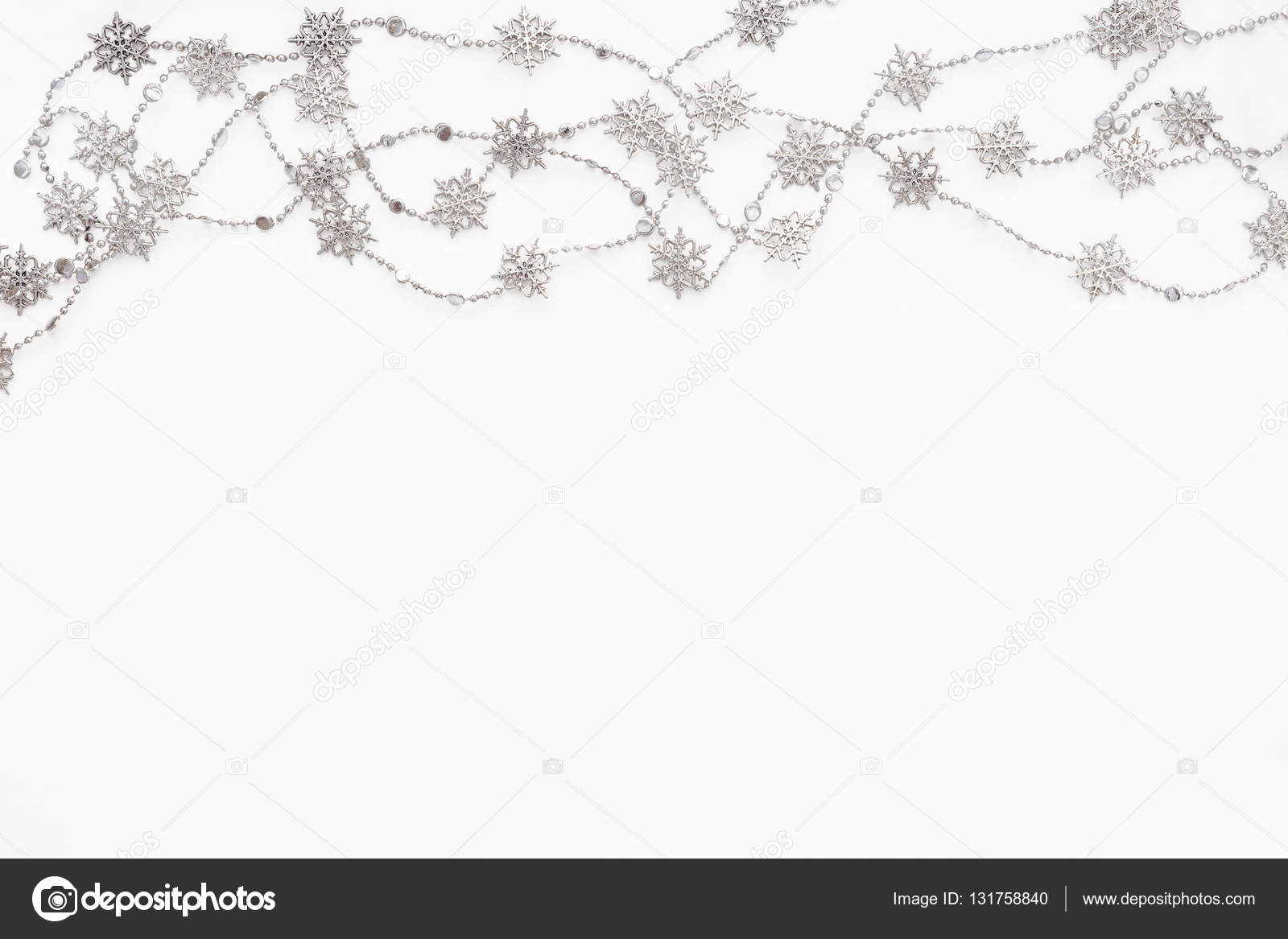 Clear White Background With Border Of Silver Chain With